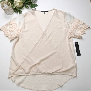 NWT Kaii Los Angeles Blush Blouse with Lace